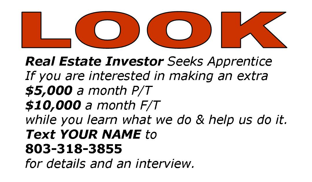 REAL ESTATE INVESTOR SEEKS WORKERS